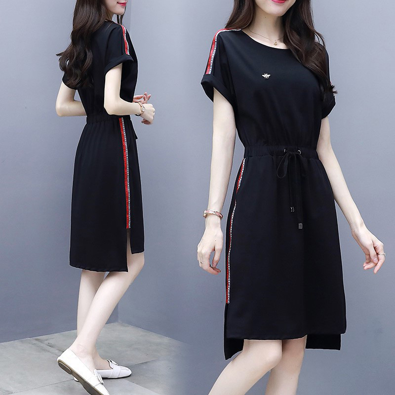 2020 summer new womens dress looks thin black casual loose waist skirt medium length fashion sports dress