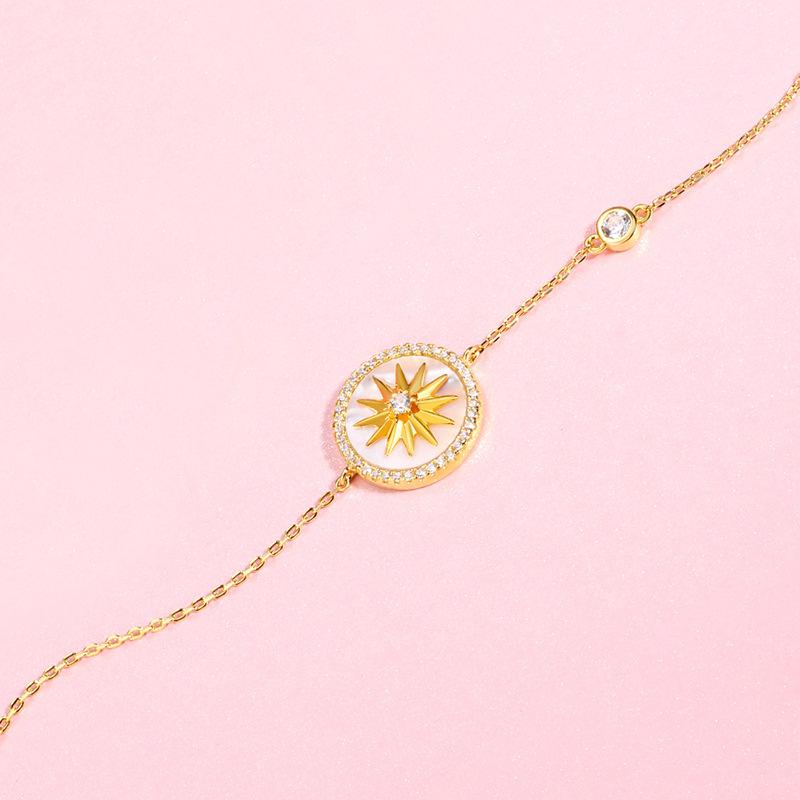 纯银s925手链手环女情人节礼物八芒星贝壳定制首饰珠宝饰品手环潮