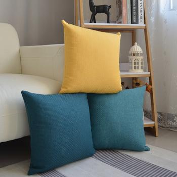 北欧纯色藤编纹亚麻简约沙发大抱枕