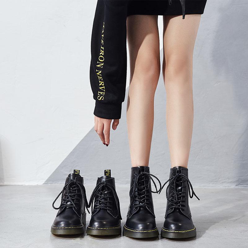 马丁靴女春秋单靴2021新款内增高短靴网纱凉靴夏季薄款靴子英伦风
