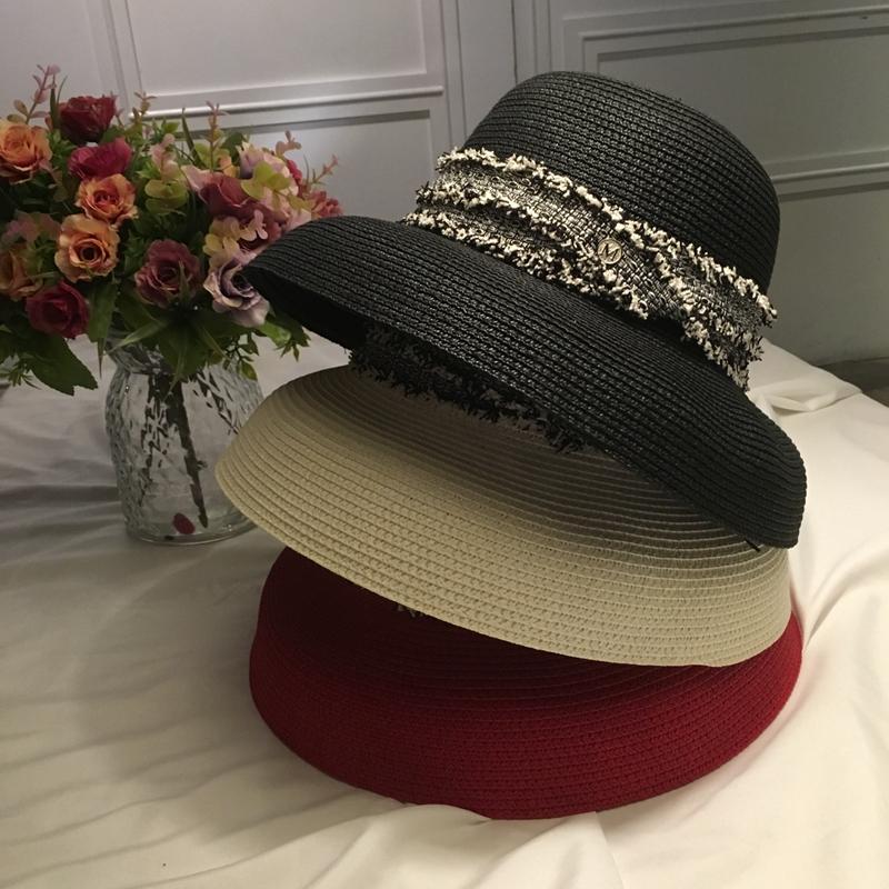 春夏法式复古草帽钟形赫本风M帽民族风织带沙滩帽大檐太阳帽子女