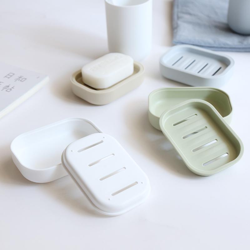 舍里  日式创意时尚双层沥水肥皂盒 旅行卫生间浴室香皂盒肥皂架