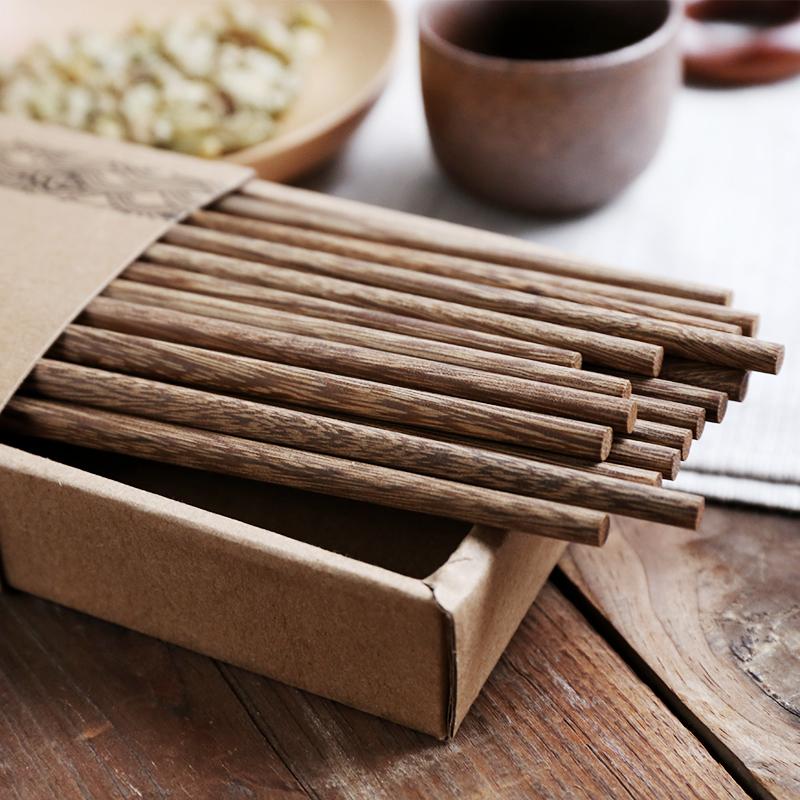 舍里 日式天然环保鸡翅木无漆无蜡筷子 原木环保筷子10双套装餐具热销64件限时秒杀