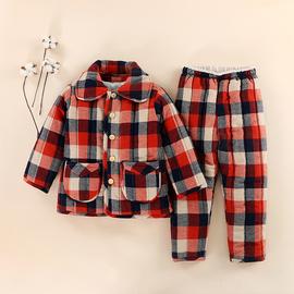 儿童纯棉家居服套装冬季男孩女孩加厚款睡衣中大童三层夹棉棉睡衣图片
