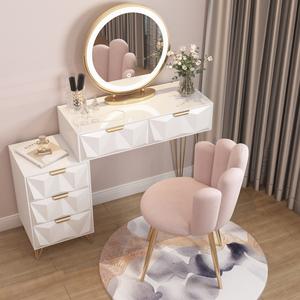 轻奢梳妆台简约现代卧室小型化妆桌北欧网红ins风床头收纳柜一体