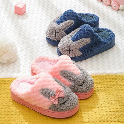 新款儿童棉拖鞋秋冬季卡通加绒可爱男童女童室内家居亲子宝宝拖鞋