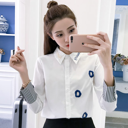 TaobaoRing Shirt long sleeve plus cashmere thickened 2017 autumn and winter Han Fan wild student shirt embroidered warm white shirt - Tmall.com Lynx