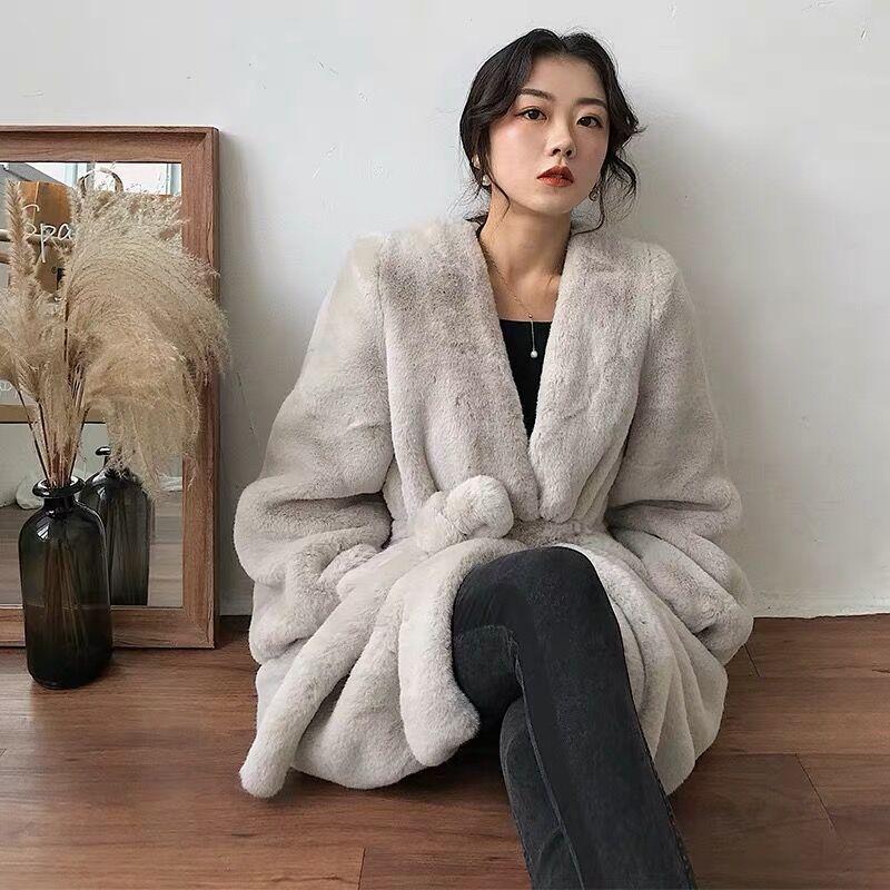 2020秋冬韩版新款水貂绒中长款仿皮草外套系带收腰宽松毛毛大衣女