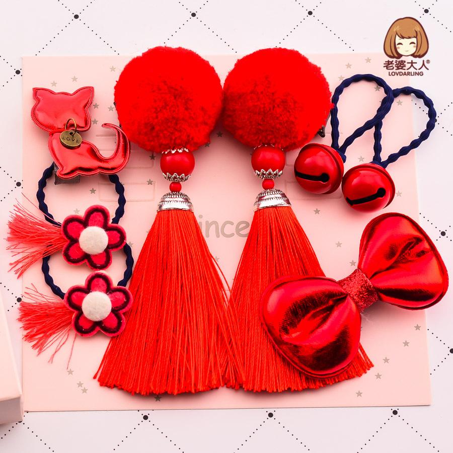 中国风儿童新年礼物礼盒春节发饰中式发夹发卡头饰套装春节礼品