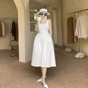 赫本风白色连衣裙夏季新款吊带裙子