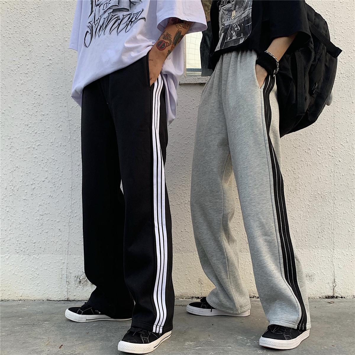 2021秋装新款条纹休闲运动裤bf男女潮经典显瘦阔腿直筒长裤男友风