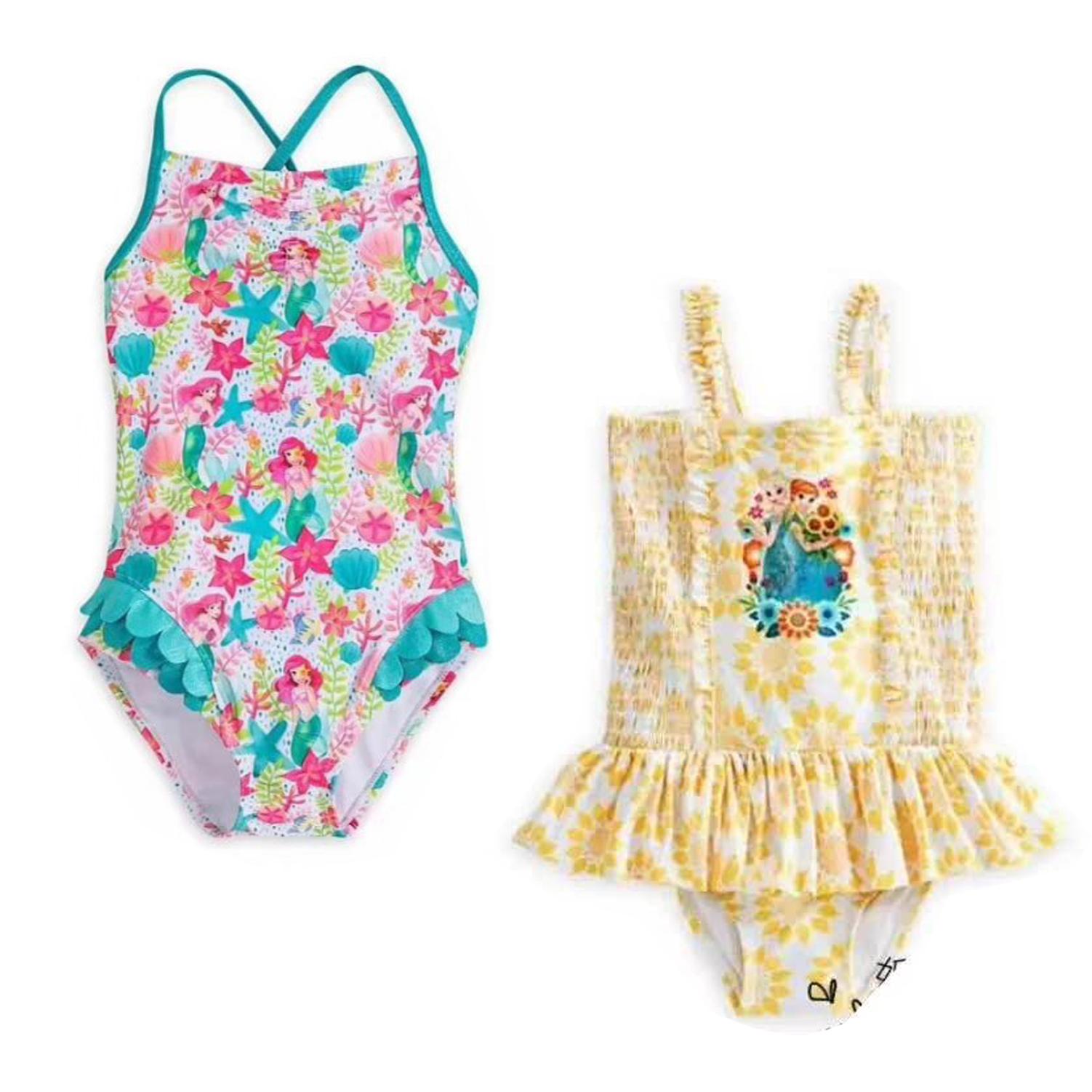 外贸女童泳衣泳帽连体游泳衣美人鱼爱丽儿冰雪奇缘爱莎公主小童