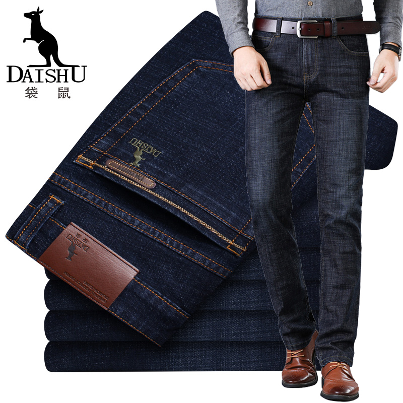 Kangaroo spring and autumn mens jeans slim straight tube autumn winter thick pants elastic loose black middle-aged mens pants