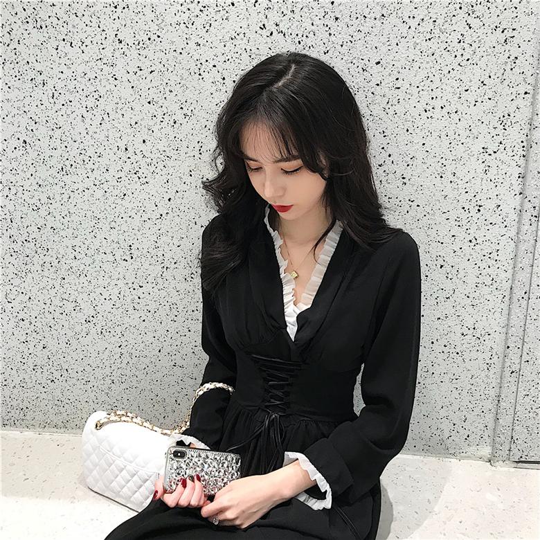 12-11新券秋冬季女装2019年法式宫廷连衣裙
