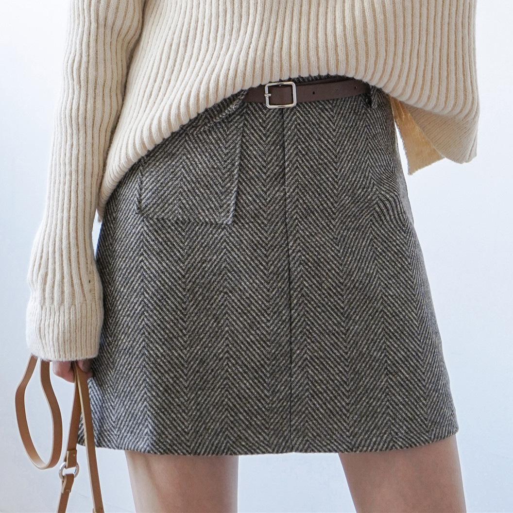 2019秋冬新款韩版时尚人字格高腰显瘦口袋毛呢A字半身短裙+皮带