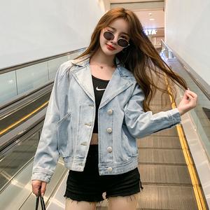 FS93671# 新款秋季牛仔短外套西装领休闲显瘦韩版宽松蝙蝠袖 服装批发女装直播货源