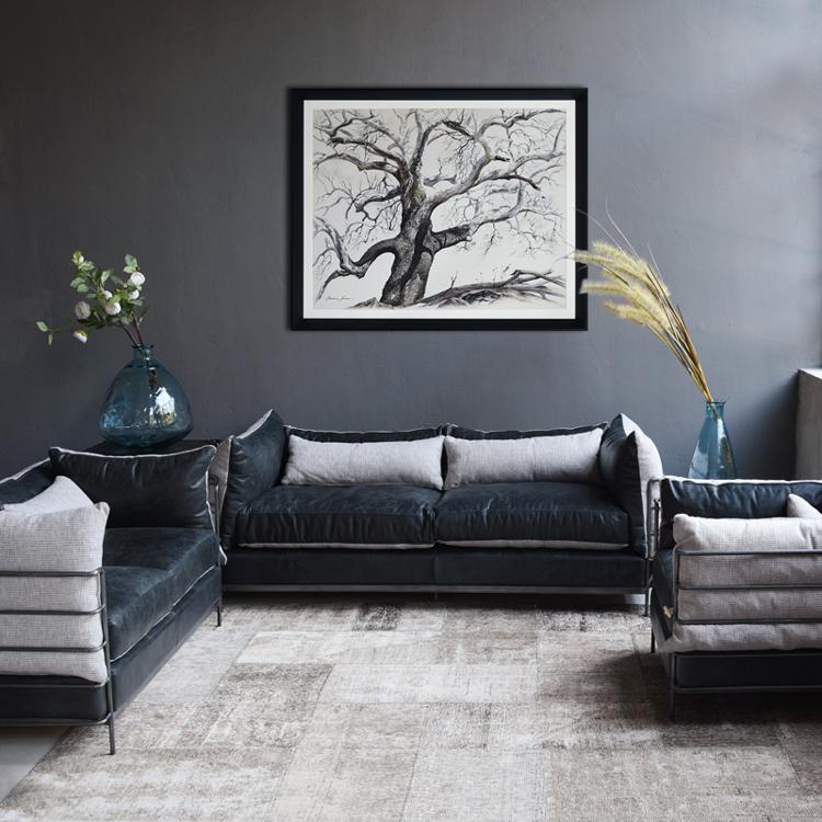 工业风服装店沙发办公室卡座工作室复古loft皮质铁艺客厅组合家具