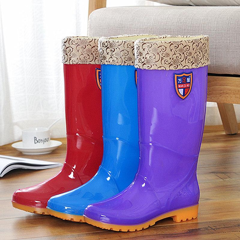 冬夏�捎眯驴钆�款高筒雨鞋防水�z鞋防滑水鞋厚底加棉保暖�L筒雨靴