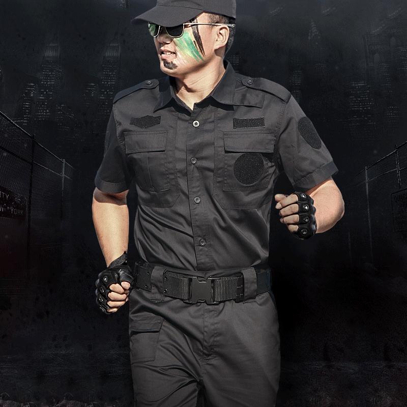 狼石夏季短袖保安作训服套装男黑色 特种兵迷彩服工作服野战军装