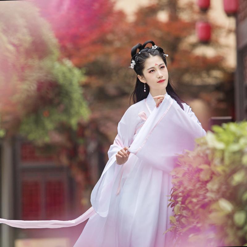 古装汉元素女装夏薄汉服唐装广袖流仙裙齐胸襦裙古典古风演出服装