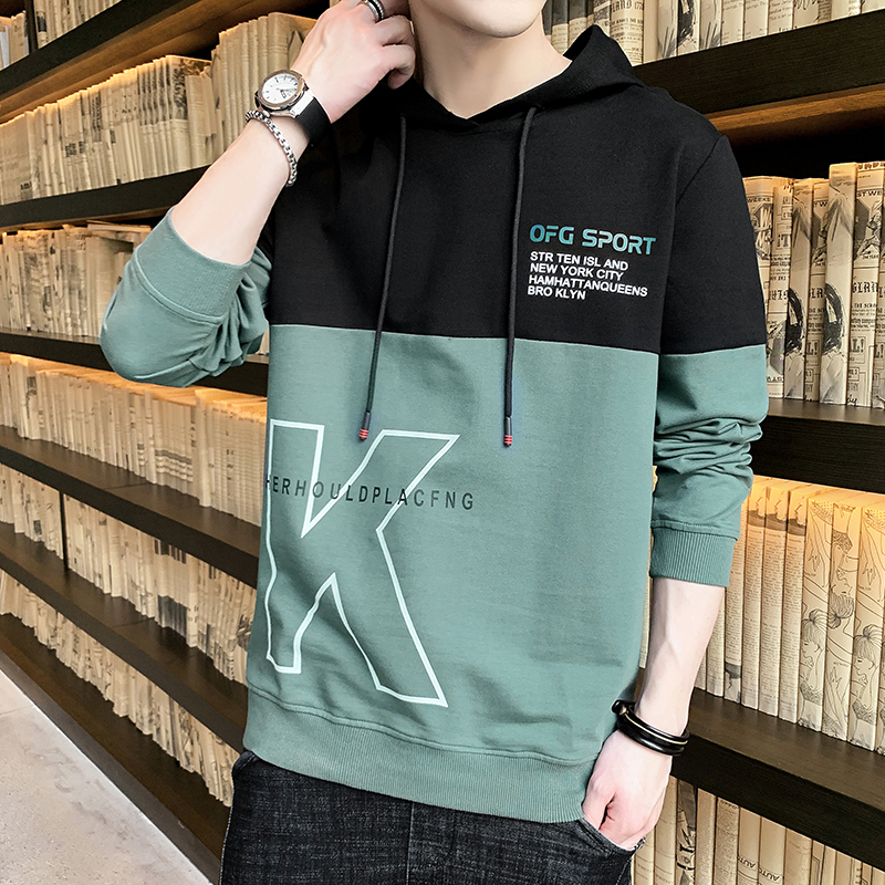 Spring and autumn men's junior high school students men's youth hooded sweater trend ins upper clothes jacket men