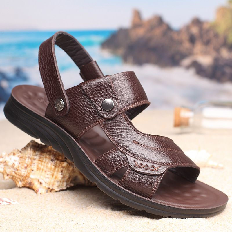 2020 summer Augustus mens shoes beach shoes sandals mens leather breathable Leather Mens head leather