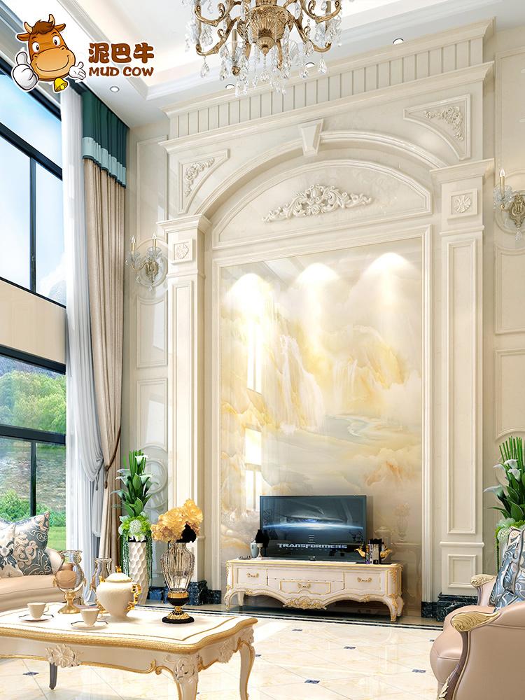 需要用券大理石复式别墅罗马柱电视背景墙瓷砖微晶石客厅欧式石材边框造型