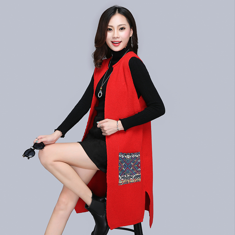 Spring and autumn wear medium long sleeveless vest for women with cardigan and Korean knitted sweater coat loose waistcoat