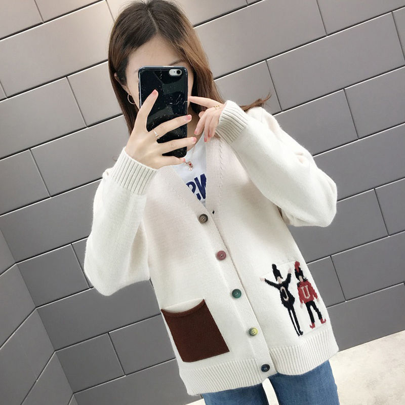 Womens large size sweater spring new 2020 new Korean V-neck thin sweater womens cardigan knitted bottoming shirt
