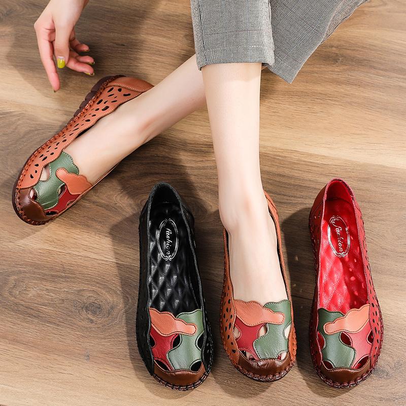夏季闰月妈妈凉鞋真皮软底舒适女鞋