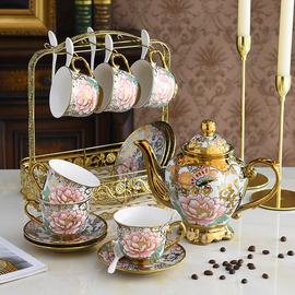 欧式茶具咖啡杯套装花茶咖啡具英式午茶陶瓷复古描金家用创意描金图片