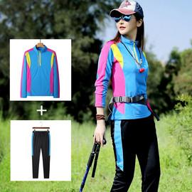 户外速干衣裤女长袖速干T恤运动套装登山徒步弹力透气防嗮快干衣
