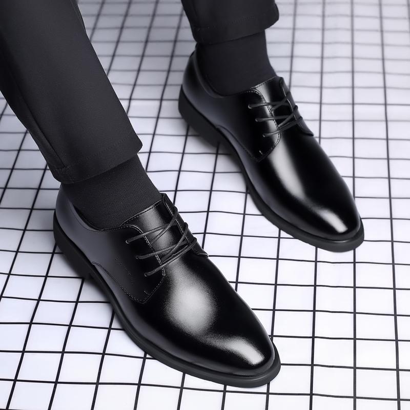 巴图腾夏季男士商务皮鞋男结婚休闲内增高真皮正装透气新郎男鞋子