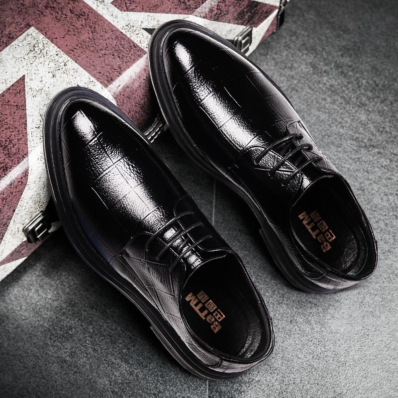 春季皮鞋男士尖头黑色婚礼鞋韩版英伦潮鞋休闲商务正装布洛克男鞋