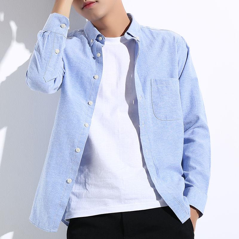 春秋款男士长袖衬衫青年商务学生衬衣