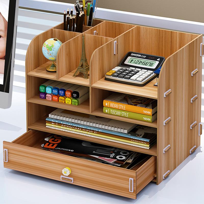 办公用品大号抽屉式木质桌面收纳盒