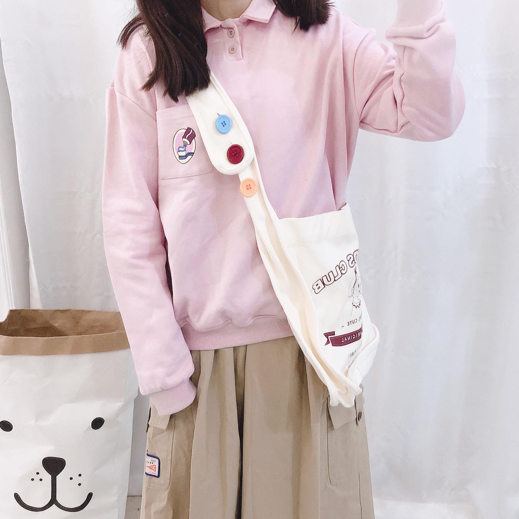 日系童趣挤牙膏印花学生polo领卫衣女秋套头软妹学院风长袖上衣
