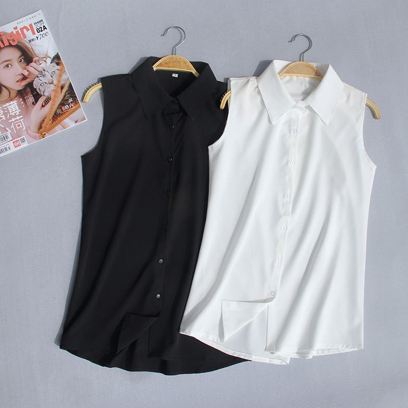 夏季新款加大码无袖衬衫女韩版职业装雪纺衫百搭白衬衣背心打底衫