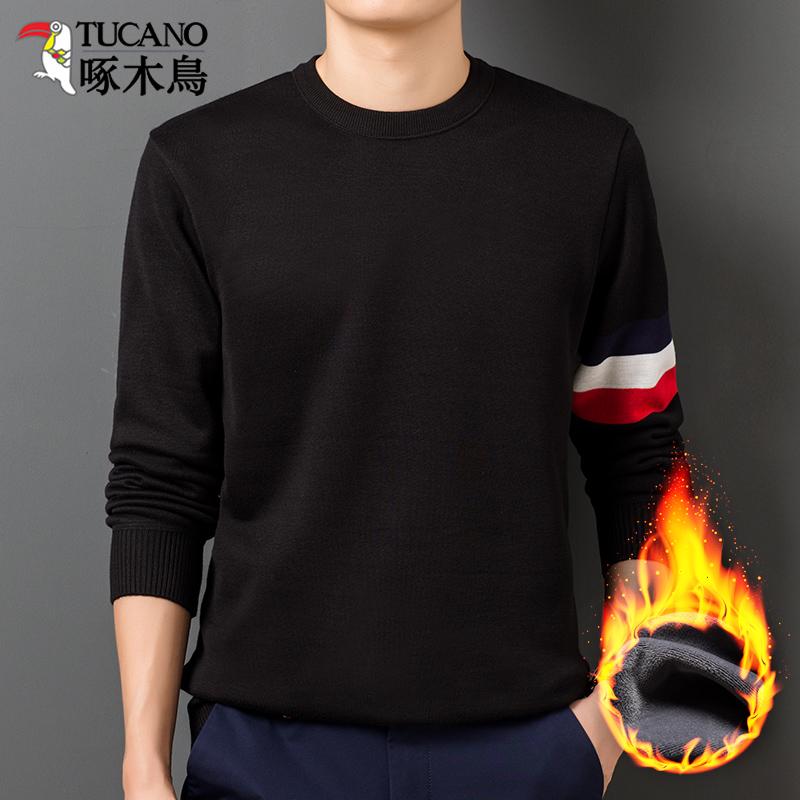 啄木鸟冬季卫衣加厚加绒圆领长袖T恤复古毛衣男针织衫保暖上衣潮
