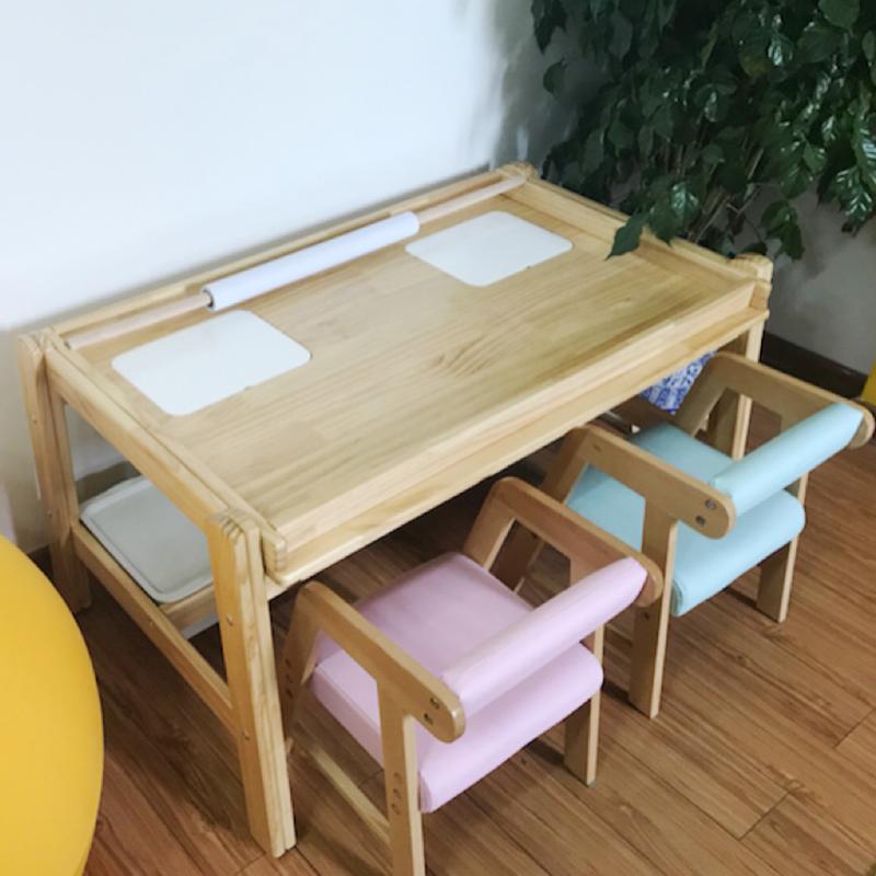 儿童玩具桌多功能游戏桌宝宝学习松木桌绘画桌积木桌儿童手工桌