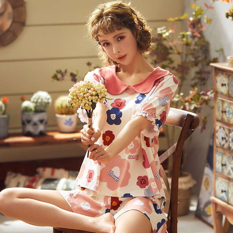 Pajamas women Summer Cotton Short Sleeve shorts Korean casual flower pattern home wear student doll collar set fashion