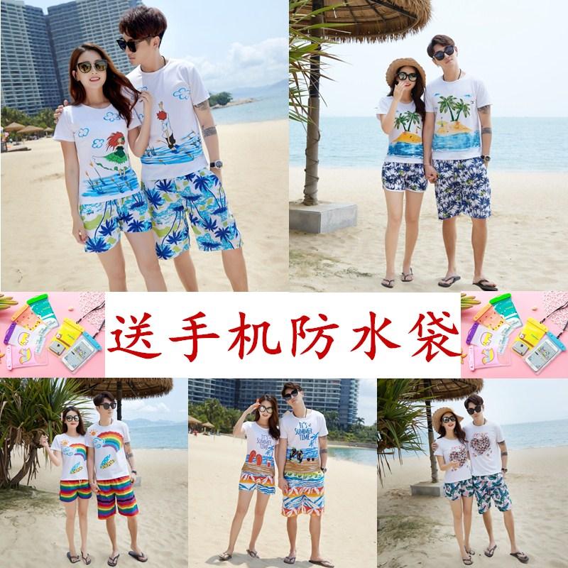 沙滩情侣装夏装2018新款海边蜜月度假套装男女大码t恤沙滩裤套装