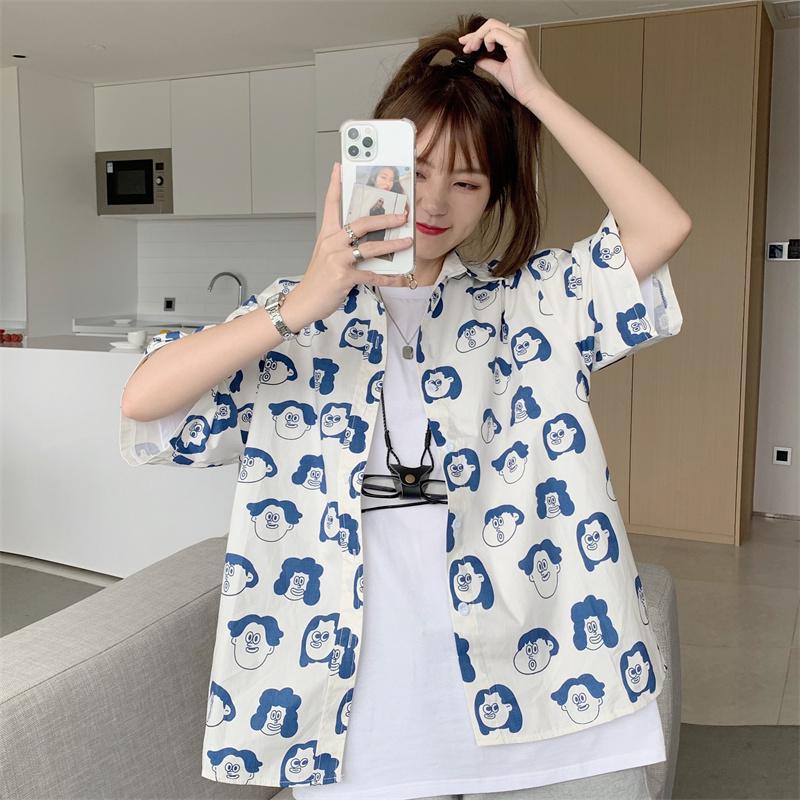 V104#纯棉实拍复古趣味印花衬衫韩版宽松搞怪头像衬衫上衣