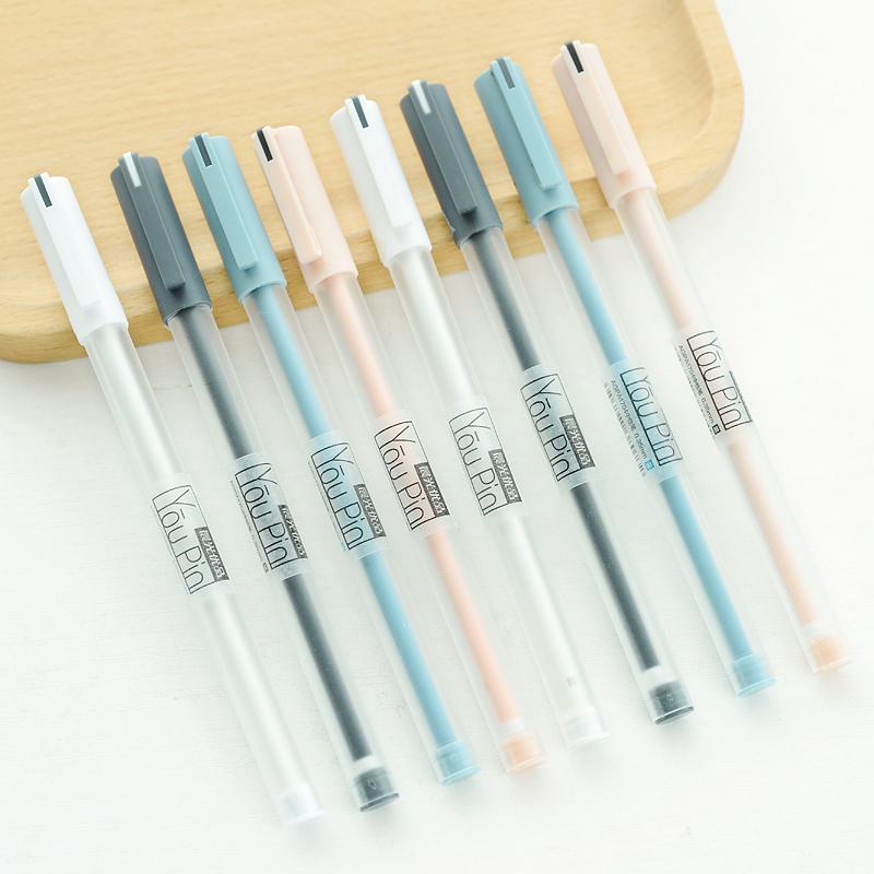 12支晨光优品中性笔简约黑笔0.35mm小清新韩国女生可爱创意萌碳素细水笔芯签字笔学生用写字笔文具红黑色批发图片