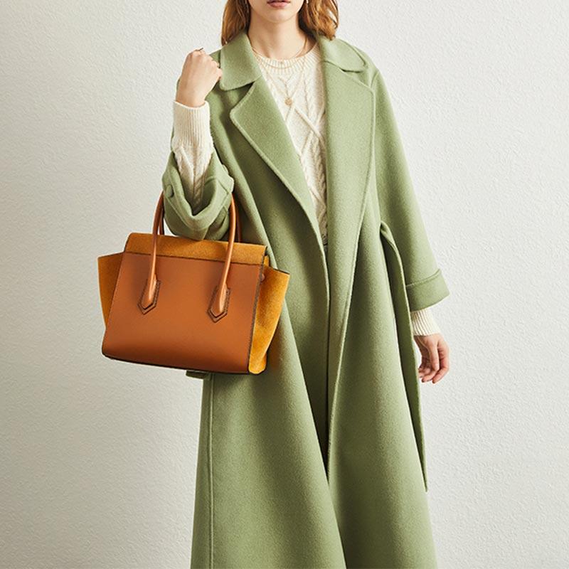 反季羊毛呢外套双面呢大衣女中长款2020新款宽松系带毛呢外套羊绒