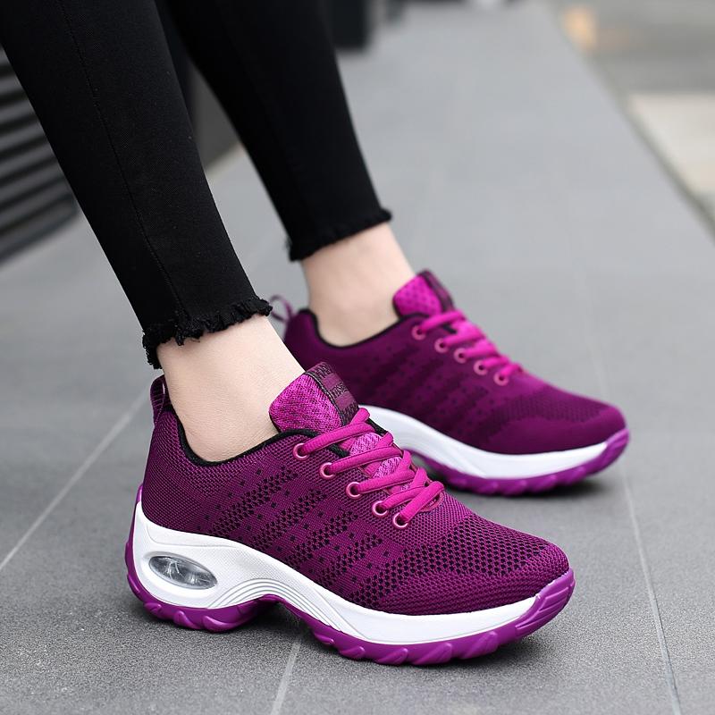 秋季女中老年运动鞋女网面休闲旅游鞋气垫坡跟摇摇鞋防滑健步鞋女