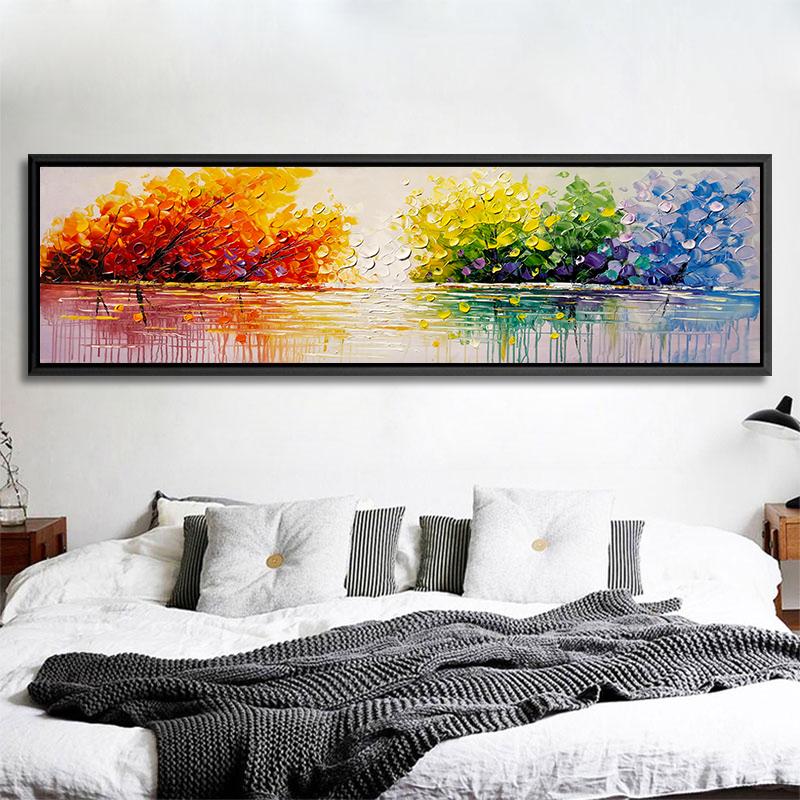手绘油画床头家居墙面家庭装饰画客厅餐厅风景沙发后面的挂画大气