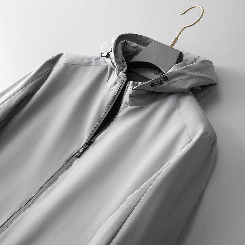 高端专柜直供!秋冬新款品牌可拆卸连帽夹克男式上衣简约薄外套