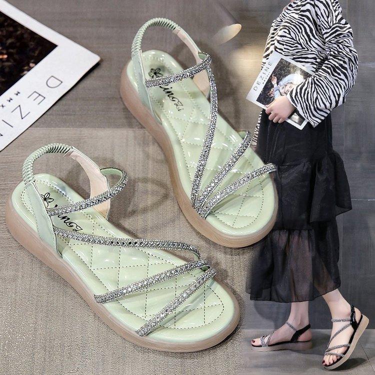 2021夏季新款一字带凉鞋橡胶平底一字式扣带空露趾优雅日常纯