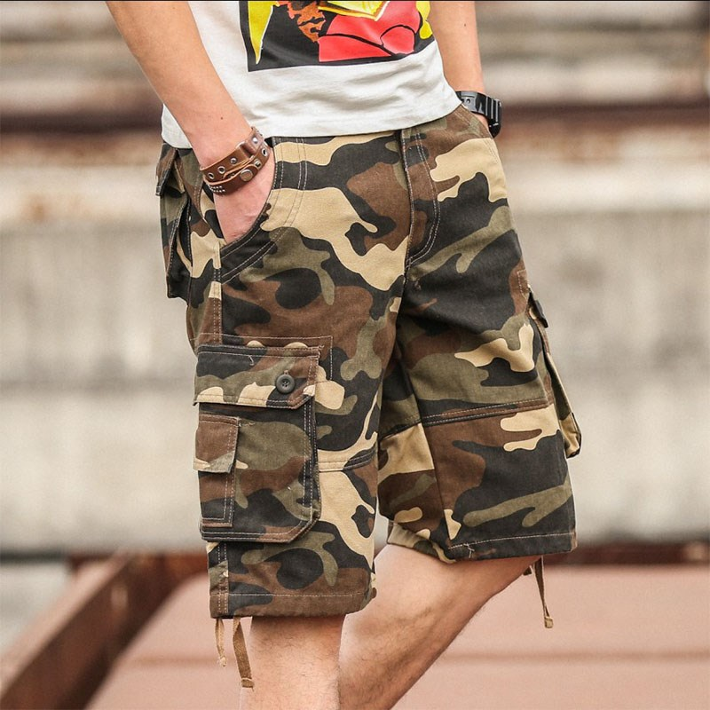 Summer camouflage pants mens shorts casual 7-point pants mens middle pants overalls 5-point breeches loose mouth bag fashion
